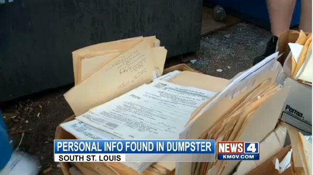 Personal Info Found In Dumpster in South St. Louis