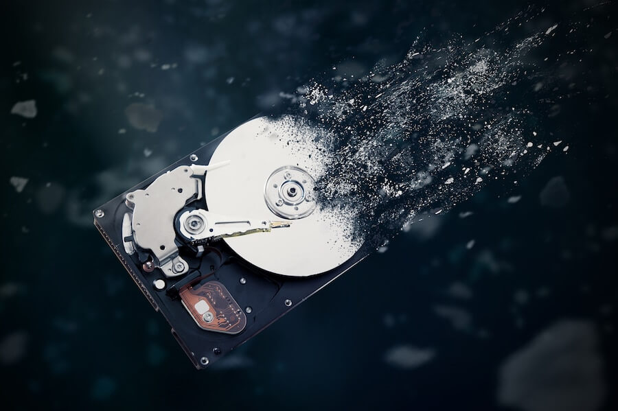 The old hard disk drive is disintegrating